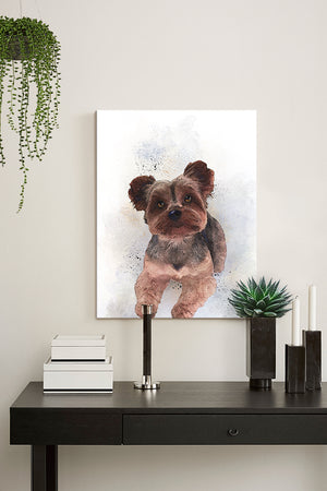 Yorkshire Terrier Canvas Wall Art - Watercolor Painting - Animal Illustration - Home Decor - Nursery Decor Contemporary Pet ArtHomeMuralMax Interiors