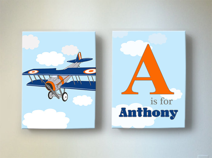 Vintage Airplane Personalized Nursery Art  - Aviation Boy Room Decor - Set of 2 Canvas Art