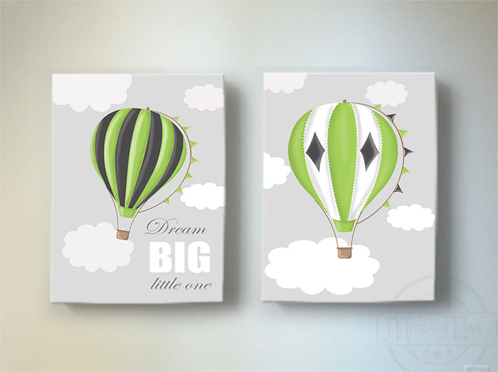 Dream Big Hot Air Balloon Nursery Wall Decor - Boy Room or Playroom Decor - Set of 2 Canvas Art