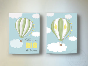 Dream Big Hot Air Balloon Nursery Wall Decor - Boy Room or Playroom Decor - Set of 2 Canvas ArtBaby ProductMuralMax Interiors