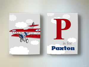 Vintage Airplane Personalized Nursery Art  - Aviation Boy Room Decor - Set of 2 Canvas ArtBaby ProductMuralMax Interiors
