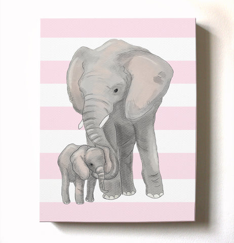 Baby Girl Nursery Decor Elephant Family Canvas Wall Art - Mom & Baby Elephant Watercolor Art - MuralMax Interiors