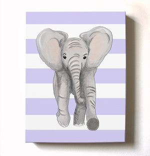 Nursery Wall Art Baby Elephant Canvas Art - Baby Girl Room Decor - Elephant Watercolor Nursery Art - Baby Shower Gift