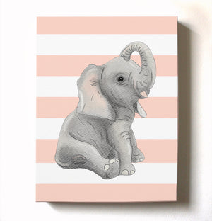 Nursery Decor Baby Elephant Striped Canvas Wall Art Baby Girl Elephant Watercolor Nursery Art New Baby Gift