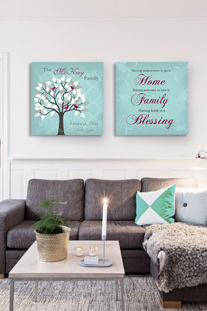 Custom Family Tree & Quote - Stretched Canvas Wall Art - Memorable Anniversary Gifts - Unique Wall Decor - 30-DAY - Set Of 2-B01LWI5CE4HomeMuralMax Interiors