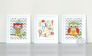ABC Educational Chevron Owl Nursery Decor - Unframed Prints - Set of 3-Multi Color ArtBaby ProductMuralMax Interiors