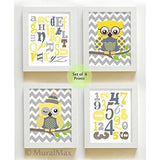 ABC Educational Chevron Owl Nursery Decor - Unframed Prints - Set of 4 Yellow Gray Art
