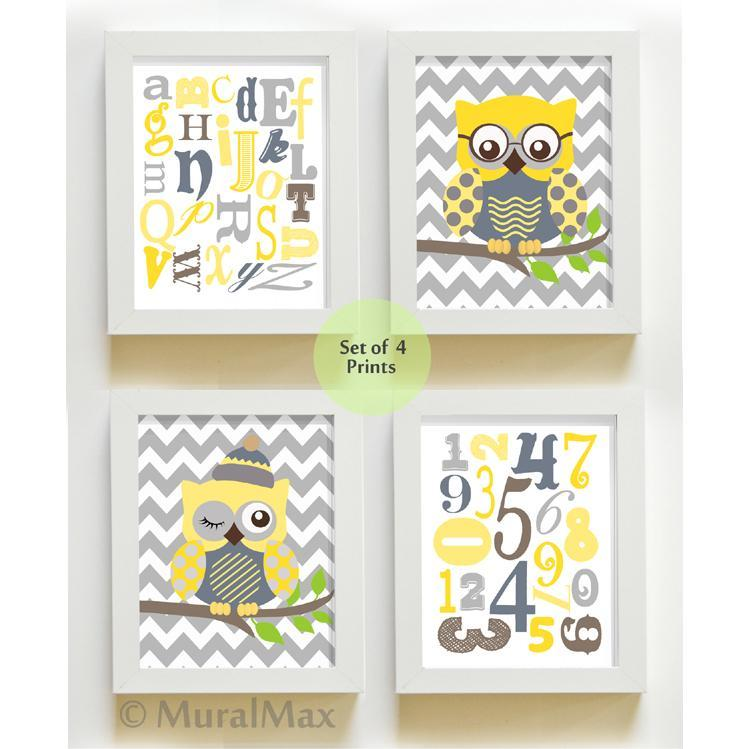 ABC Educational Chevron Owl Nursery Decor - Unframed Prints - Set of 4 Yellow Gray Art-MuralMax Interiors