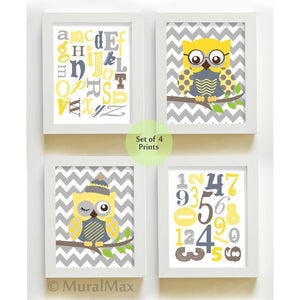 ABC Educational Chevron Owl Nursery Decor - Unframed Prints - Set of 4 Yellow Gray ArtBaby ProductMuralMax Interiors