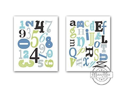 ABC's & 123's Educational Collection - Set of 2 - Unframed Prints-B01CRT73ZG - MuralMax Interiors