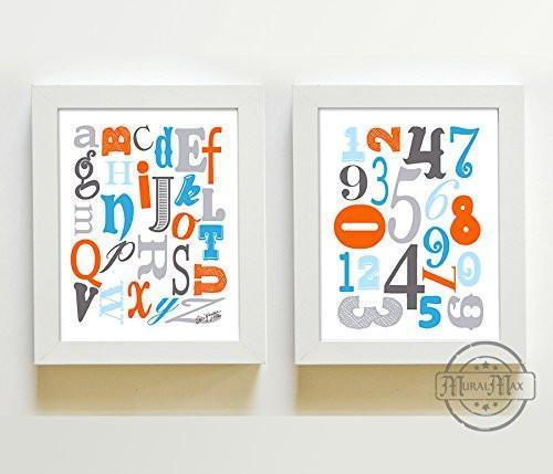 ABC's & 123's Educational Collection - Set of 2 - Unframed Prints-B01CRT781A-MuralMax Interiors
