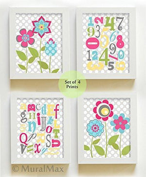 "ABC's & 123""s Floral Education Theme - Set of 4 - Unframed Prints-B01CRMIHWQBaby ProductMuralMax Interiors"