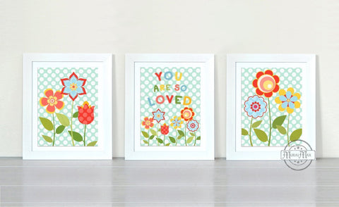 Abstract Polka Dot - Floral You Are So Loved Nursery Art - Unframed Prints - Set of 3-B018KOB0V0