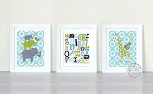 Abstract Polka Dot Giraffe & Alphabet Nursery Decor - Unframed Prints for Boy Nursery - Set of 3Baby ProductMuralMax Interiors