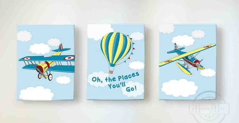 Airplane and Hot Air Balloon Nursery Decor - Boys Room Canvas Nursery Wall Art - Set of 3-B07CV72H7TBaby ProductMuralMax Interiors