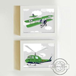 Airplane & Helicopter Transportation Kid Room Art Collection - Unframed Prints - Set of 2-B018KOCB5YBaby ProductMuralMax Interiors
