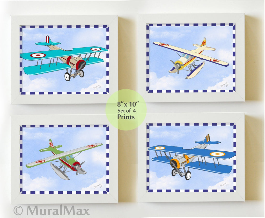 Airplane Nursery Aviation Collection - Unframed Prints - Set of 4-B018KOBLS2-MuralMax Interiors