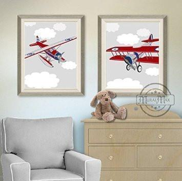 Airplane Nursery Prints - Airplane Baby Boy Nursery Baby Shower Gift- Unframed Prints - Set of 2-B018KOCNC0Baby ProductMuralMax Interiors