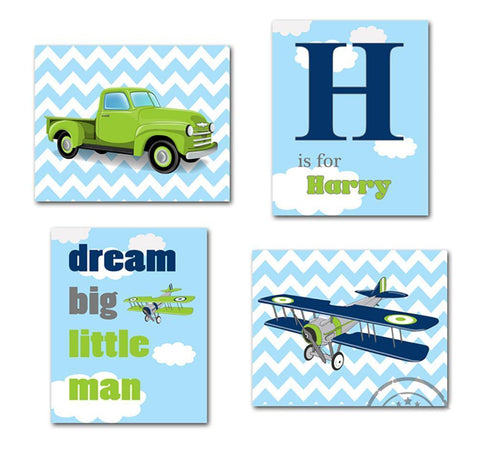Airplane & Pickup Truck Dream Big Personalized Chevron Nursery Art - Set of 4 - Unframed Prints-B01CRMI1D6Baby ProductMuralMax Interiors