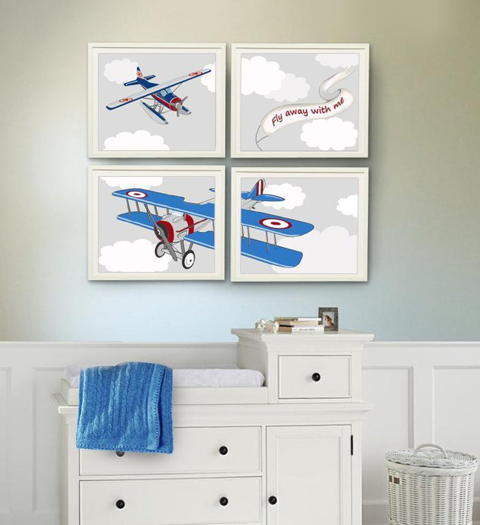Airplane Wall Decor, Airplane Nursery Art, Boy Nursery Art Prints - Unframed Prints - Set of 4