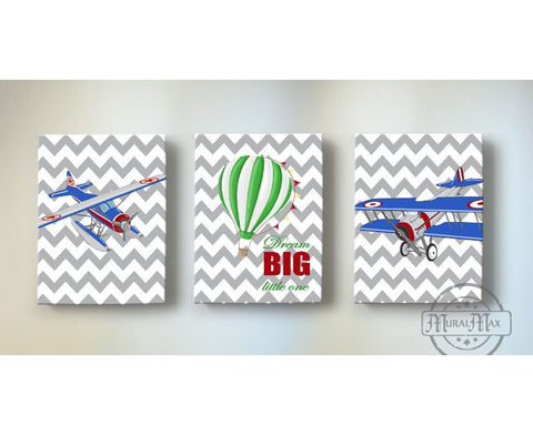 Airplanes & Hot Air Balloon Kid Room Canvas Wall Art - Aviation Travel Decor - Set of 3Baby ProductMuralMax Interiors