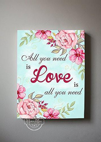 All You Need Is Loves Quote - Stretched Canvas Wall Art - Make Your Wedding & Anniversary Gifts Memorable - Unique Wall Decor - Color - Rose - 30-DAY-B01D7R1AHY