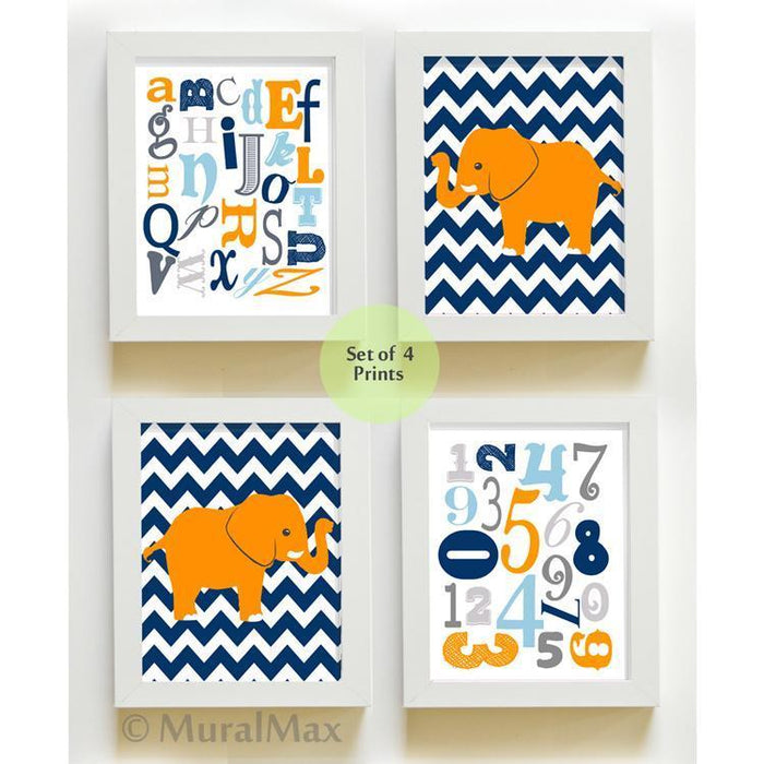 Alphabet & Numbers Boys Room Wall Art - Set of 4 Navy Orange Elephant Decor - Unframed Prints