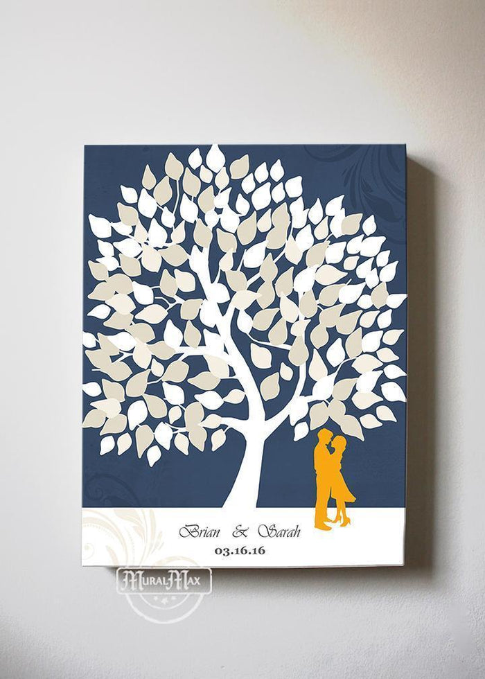 Alternative Guest Book Tree - Personalized Family Tree & Lovebirds Canvas Wall Art - Unique Wall Decor - Navy Wedding