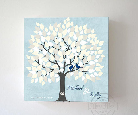 Alternative Wedding Signature Guest Book 150 Leaf Tree Canvas Wall Art, Anniversary Gifts, Unique Wall Decor - Aqua # 150Leaf - B01L2L4R8G-MuralMax Interiors