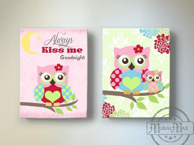 Always Kiss Me Good Night - Floral Mums Owl Nursery Art For Girls - Canvas Decor - Set of 2Baby ProductMuralMax Interiors