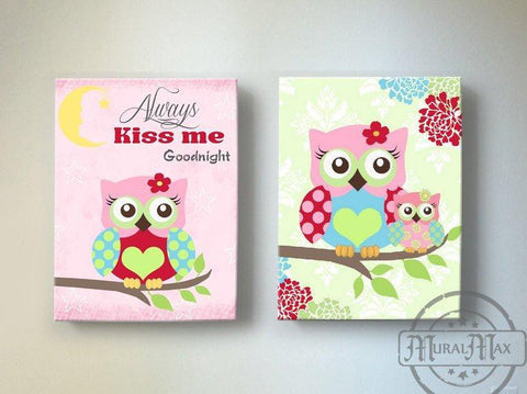 Always Kiss Me Good Night - Floral Mums Owl Nursery Art For Girls - Canvas Decor - Set of 2