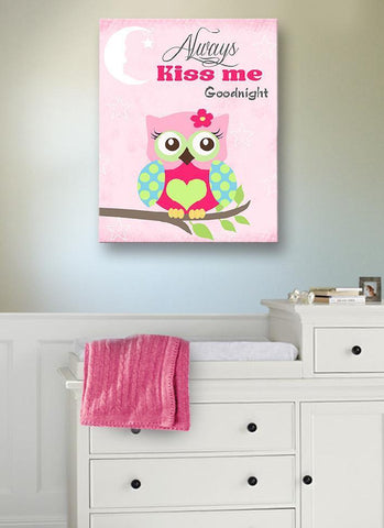 Always Kiss Me Good Night - Mom & Baby Owl Canvas Decor for Baby Girl
