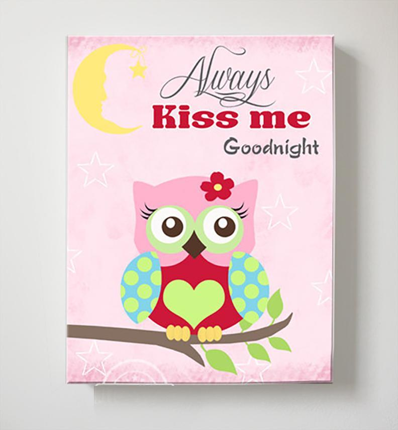 Always Kiss Me Good Night - Mom & Baby Owl Canvas Decor for Baby Girl-MuralMax Interiors