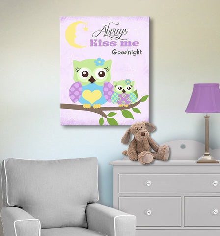 Always Kiss Me Good Night Purple Owl Nursery Decor - Canvas Wall Art
