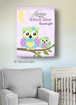 Always Kiss Me Good Night Purple Owl Nursery Decor - Canvas Wall Art-MuralMax Interiors
