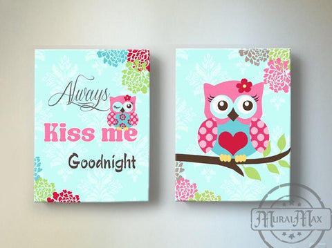 Always Kiss Me Goodnight Aqua And Pink Baby Girl Nursery Decor Floral Mums Nursery Owl Canvas Art - Set of 2