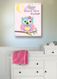 Always Kiss Me Goodnight Canvas Nursery Decor - Owl Nursery Art In Pink PurpleBaby ProductMuralMax Interiors
