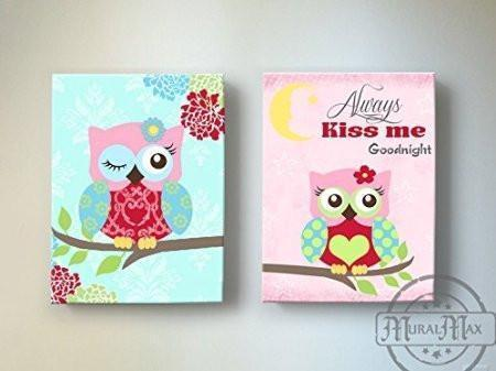 Always Kiss Me Goodnight Floral Owl Canvas Art Decor - Set of 2-Pink Aqua Red Decor