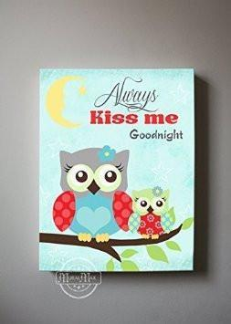 Always Kiss Me Goodnight Unisex Baby Nursery Canvas Art - The Owl CollectionBaby ProductMuralMax Interiors