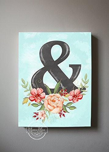 Ampersand Symbol, Always & Forever, Stretched Canvas Wall Art, Wedding & Anniversary Gifts Memorable, Unique Wall Decor, Color , Cloudy Blue - 30-DAY-B01D7R10YW