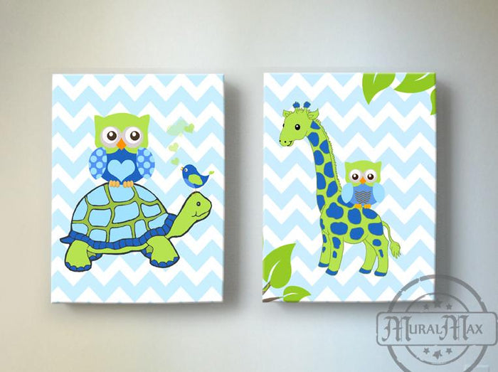 Animal Nursery Art - Turtle & Giraffe Safari Decor for Boys - Canvas Art - Set of 2 Blue Green Decor