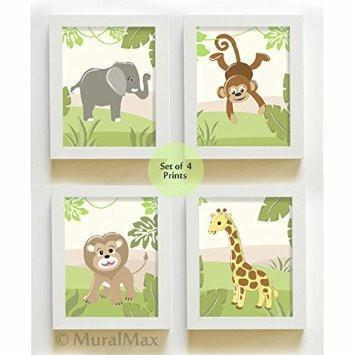 Animal Nursery Wall Art - Whimsical Lion & Friends Jungle Safari Theme - Unframed Prints - Set of 4-B018KOFVTM