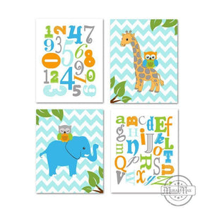 Animals & Alphabet Nursery Prints - Owls & Giraffe Educational Theme - Set of 4 - Unframed PrintsBaby ProductMuralMax Interiors