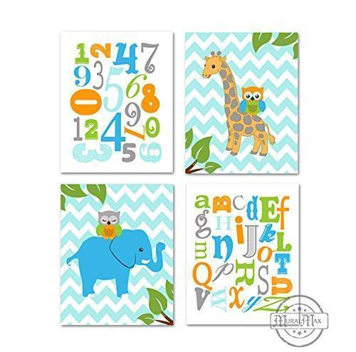 Animals & Alphabet Nursery Prints - Owls & Giraffe Educational Theme - Set of 4 - Unframed Prints
