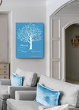 Anniversary Gift - Engagement Newlywed Gift Personalized Family Tree Canvas Art - Unique Wall Decor - Paradise BlueHomeMuralMax Interiors