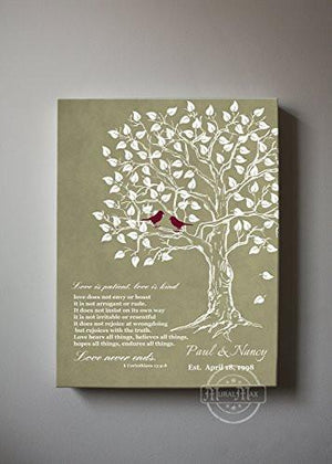 Anniversary Gift for Couple - Personalized Family Tree & Lovebirds Canvas Wall Art - Khaki # 2 - B01HWLKOLOHomeMuralMax Interiors