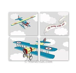 Aviation Airplane Decor - Fly Away With Me - Unframed Prints - Set of 4-B018KOC73UBaby ProductMuralMax Interiors