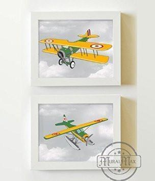 Aviation Vintage Airplane Art - Unframed Prints - Set of 2-B018KOCG90Baby ProductMuralMax Interiors