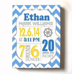 Baby Birth Announcements Boy Nautical Nursery Wall Art - Modern Chevron Nautical Nursery Decor - (Yellow & Blue) - Stretched Canvas Art -B018GTDLO8Baby ProductMuralMax Interiors