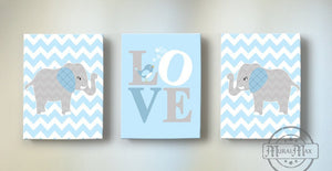 Baby Blue and Gray Love Nursery Canvas Art - Inspirational Quote - The Elephant Collection - Chevron Canvas Art Decor - Set of 3 - MuralMax Interiors